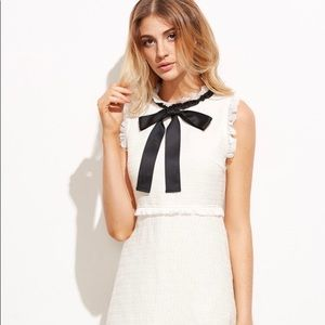 Off-White Lightweight Tweed French Black Bow Dress